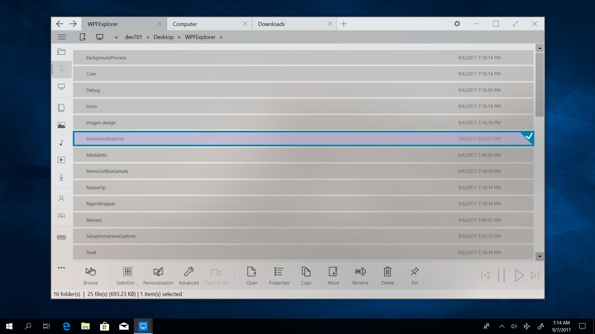 Immersive Explorer - A modern file explorer for Windows 10